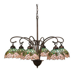 Meyda Tiffany - Meyda Tiffany 18713 Cabbage Rose Traditional Chandelier - A wreath of full blooming Passion Pink cabbage roses circle this beautiful stained glass shade in a design inspired by the Louis Comfort Tiffany studio. Bronzed Green leaves and stems form a pattern against an Opal sky in this lovely Mahogany Bronze finished six light chandelier.