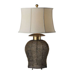 Uttermost Rickma Woven Metal Table Lamp - Antiqued gold leaf finish on a woven metal base with black undertones. Antiqued gold leaf finish on a woven metal base with black undertones. The round semi bell shade is an ivory linen textile with natural slubbing.