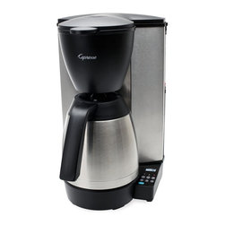 Capresso - Jura Capresso MT600 Plus 10-Cup Programmable Coffee Maker with Thermal Carafe Mu - Shop for Coffee Makers from Hayneedle.com! About CapressoLaunched in 1994 Capresso provides innovative coffee equipment for professionals and home users alike. In 2002 Capresso merged with Jura AG a company founded in 1931 in Switzerland. Together Jura Capresso began to introduce the finest automatic coffee centers to the U.S. market. With friendly high-tech features like one-touch operation interchangeable frothers LED displays and high-pressure brewing Jura Capresso coffee machines have quickly become leaders in the industry. Through new patented designs their machines are constantly evolving to make it a pleasure for you to create delicious coffee with ease. Jura Capresso machines are beautifully designed to look great on your countertop and are made with high-quality materials that are engineered for years of reliable performance.