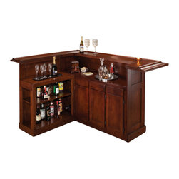 Hillsdale Furniture - Hillsdale Classic Cherry Large Bar with Side Bar - With a warm cherry finish and black footrest, this bar has classic styling. The wine rack, which holds up to 12 bottles, cabinets and drawers provide ample storage space. Made of solid hardwoods with cherry veneers.