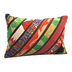 Modelli Creations - Vintage Sari Stripe Lumbar Pillow, Brown - Rejuvenate decor with a splash of patchwork design and vivid color. Crafted from a unique blend of strips vintage fabric against brown or white contrasting fabric in a diagonal stripe design, these pillows offers a soft spot to rest on while adding an element of bright bohemian flair to any room.