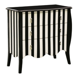 Hand-painted Distressed Black and White Striped Accent Chest
