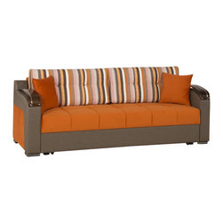 Casamode Furniture - Divan Deluxe Signature Sofa Bed | Sarp Orange - Sure to replace any standard sofa, Divan Deluxe Signature sofa bed includes 3 function: seating, storing and sleeping, featuring a click-clack mechanism and plentiful storage inside. Upholstered in Sarp Orange fabric.