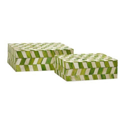 "IMAX - Essentials Green Apple Bone Boxes - Set of 2 - Essentials by Connie Post has received a makeover with new colors and style like this set ofeetwo bone boxes in modern, funky pattern. In melon sorbet, marine blue, mellow yellow and green apple. Item Dimensions: (7.25-8.5""h x 5.25-6.25""w x 2.5-3"")"