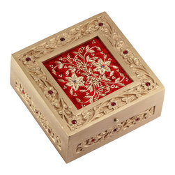 SouvNear - SouvNear Art Jewelry Box in Wood and Red Velvet, Handmade Decorative Trinket Box - * An exquisite wooden jewelry box adorning a beautiful floral pattern on the border of the lid. The same pattern runs through the lower side of the box giving it a splendid look.