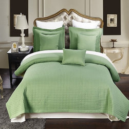 Royal Tradition - RT 6pc Luxury Sage Checkered Quilted Microfiber Coverlet Set - �6pc Luxury Sage Checkered Quilted Wrinkle Free Microfiber Coverlet Set- Experience the comfort and soft touch feel as if these linens were made from Egyptian Cotton. This Coverlet Set is made of 100% high strength Microfiber wrinkle free yarns that will stay soft for years to come.  Machine Washable