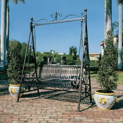 Design Toscano Rockaway Garden Swing - Enjoy every aspect of your outdoor setting by having a relaxing swing in the Rockaway Garden Swing. This beautiful piece is crafted from powder-coated steel and features elegant details that will enhance your yard, garden, patio, or pathway.About Design Toscano:Design Toscano is the country's premier source for statues and other historical and antique replicas, which are available through our catalog and website.We were named in Inc. magazine's list of the 500 fastest growing privately-held companies for three consecutive years - an honor unprecedented among catalogers.Our founders, Michael and Marilyn Stopka, created Design Toscano in 1990. While on a trip to Paris, the Stopkas first saw the marvelous carvings of gargoyles and water spouts at the Notre Dame Cathedral. Inspired by the beauty and mystery of these pieces, they decided to introduce the world of medieval gargoyles to America in 1993. On a later trip to Albi, France, the Stopkas had the pleasure of being exposed to the world of Jacquard tapestries that they added quickly to the growing catalog. Since then, our product line has grown to include Egyptian, Medieval and other period pieces that are now among the current favorites of Design Toscano customers, along with an extensive collection of garden fountains, statuary, authentic canvas replicas of oil painting masterpieces, and other antique art reproductions.At Design Toscano, we pride ourselves on attention to detail by traveling directly to the source for all historical replicas. Over 90% of our catalog offerings are exclusive to the Design Toscano brand, allowing us to present unusual decorative items unavailable elsewhere. Our attention to detail extends throughout the company, especially in the areas of customer service and shipping.