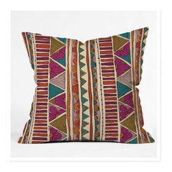 "DENY Designs - Valentina Ramos Ethnic Stripes Throw Pillow - Wanna transform a serious room into a fun, inviting space? Looking to complete a room full of solids with a unique print? Need to add a pop of color to your dull, lackluster space? Accomplish all of the above with one simple, yet powerful home accessory we like to call the DENY Throw Pillow! Features: -Valentina Ramos collection. -Color: Print. -Material: Woven polyester. -Sealed closure. -Spot treatment with mild detergent. -Made in the USA. -Closure: Concealed zipper with bun insert. -Small dimensions: 16"" H x 16"" W x 4"" D. -Medium dimensions: 18"" H x 18"" W x 5"" D. -Large dimensions: 20"" H x 20"" W x 6"" D. -Product weight: 3 lbs."