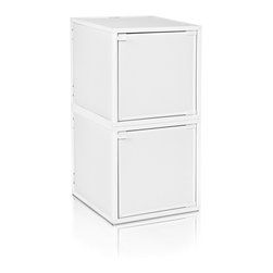 Way Basics - Way Basics 2 Box Storage Cube Stackable, White - Box will easily stack, connect and align to create your perfect organizer! Form a 2-tiered nightstand or a side by side double cubby and accessorize with a door to hide that inevitable clutter. The simple, modern design of the Bo will complement and adorn any room.