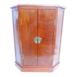 """Oriental furnishings - Asian Two Door Cupbord With Big Brass - Our rich grain wooden cupbord is the perfect solution for that entry way or hall space that could use a storage cabinet with simple good looks and solid wood construction. This two door chest measures 24 X 11 X 27""""H inside and comes with a removable shelf. The outside size is 24""""X 12""""X31"""" H and its slant front shape make it easy to navigate around in a tight space. Beautiful elmwood grain that is highlighted by layers of clear protective lacquer make it a stunning addition in any space.  Use it even as a end table with todays oversized beds and upholstered chairs. Simple Asian style brass hardware give this a exotic appeal."""