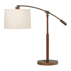 One Light Table Lamp Exempl - One Light Table Lamp Exemplifing its name, this contemporary table lamp from the cantilever collection incorporates a thin, sweeping arm, that projects over a sleek bodice in burnished copper bronze.  It adjusts up and down and side to side to focus the light where it`s needed.  Stands 26. 5 to 32. 5 inches high.  The oatmeal linen hard back shade is 11 x 11. 5 x 8 inches.  It has an on-off rocker switch and uses a 100 watt bulb.