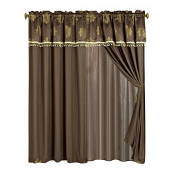 "Judy Curtains 2 x Panels 60x84""ea. with Valance, 60x84+18 (2-Panels) - Curtain set Includes: 2 Panels 60""Wx84""L + 18"" Attached Valance"