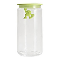 """Alessi - Alessi """"Gianni"""" Kitchen Glass Box, Yellow - A kitchen box in glass with hermetic lid in thermoplastic, Gianni is a little man holding on tight."""