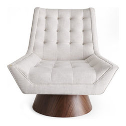 """Jonathan Adler - Jonathan Adler Whitaker Chair - Casually elegant mid-century inspired chair and ottoman feature tailored lines and tufting to blend nicely with a variety of decorating styles. From Jonathan Adler. Made of ash with walnut veneers and linen upholstery. Chair with swivel base, 37""""W...."""