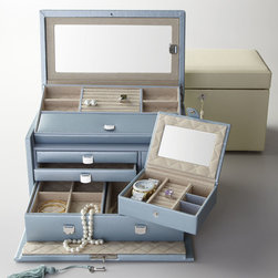 """Wolf Designs - """"London"""" Jewelry Case - Wolf Designs""""London"""" Jewelry CaseHighlightsHandcrafted jewelry case features a beveled lid with interior mirror; one-of-a-kind """"lift up"""" presentation tray; hidden storage beneath a removable tray; three multi-compartment drawers; pull-out ring-roll tray; and a removable snap-closure travel case with mirror. Imported.Lizard-embossed leather exterior.Quilted tarnish-resistant Lusterloc lining.Polished chrome lock and key.12""""W x 8""""D x 8""""T."""