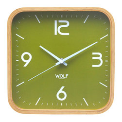 "WOLF - 12"" Square Wall Clock, Green - Simplicity and minimalism characterize this square framed, medium-size wooden wall clock. This stark, contemporary design features a 12"" white dial contrasted with black hands and sans-serif numberingperfect for viewing from across the room."