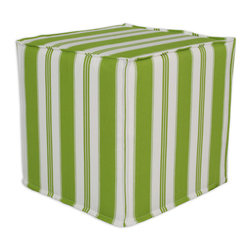 """Chooty - Chooty Trade Winds Island Green Collection 17"""" Square Seamed Foam Ottoman - Insert 100 High Density Foam, Fabric Content 100 Cotton , Color Green, White , Hassock 1"""