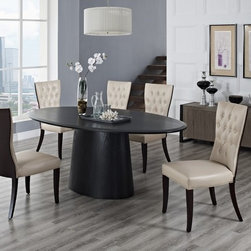 Creative Furniture - Lilou Dining Set in Espresso and Beige - The fine combination of unique modern table and transitional chairs with classic flavor makes this dining set an elegant and sophistication part of any today's dining space. The table has wood veneer construction finished in Matt White, long oval top and sturdy center support. The chairs are made of wood and venner and upholstered in beige / espresso faux leather.    The set includes Table and 6 Chairs.    Features: