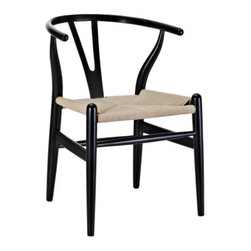 Poly + Bark - Wegner Wishbone Style Chair, Black - Designed in 1949 by Denmark's foremost furniture designer Hans Wegner, the original Wishbone Chair was inspired by classical portraits of Danish merchants sitting on Chinese Ming chairs and is considered one of his most distinguished designs from his prolific portfolio of more than 500 pieces.
