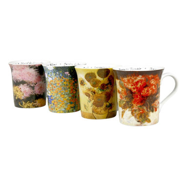 """Konitz - Set of 4 Assorted Floral Famous Artist Mugs - The """"Les Fleurs Chez Les Peintres"""" Mug Collection (French for """"Flowers from the Homes of Famous Painters"""") features floral paintings from the gardens of famous artists Vincent Van Gogh, Gustav Klimt, Claude Monet, and Pierre-Auguste Renoir. The perfect gift for art lovers. French script writing on the interior."""