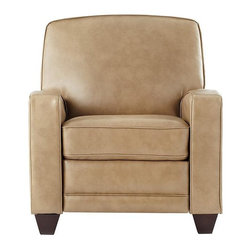 Home Decorators Collection - Trevor Push Back Recliner - Our Trevor Push Back Recliner offers the sleek look of a club chair with the adjustable comfort of a recliner. Lean back and relax with this stylish leather armchair. Bonded leather upholstery in your choice of finish. Wood legs in espresso finish. Push back to recline. Does not include foot rest.