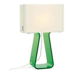 Pablo Designs - Tube Top Colors Table Lamp by Pablo Designs - Designed by Peter Stathis, the Tube Top Colors Table Lamp steers away from the conventional with its unique construction and modern form. Juxtaposing a clean White mesh fabric shade with a candy-hued array of acrylic bases, Tube Top is stylish, contemporary and just plain fun. A minimalist - and colorful - statement for the modern home. Pablo, founded in 1993 by Venezuelan-born Pablo Pardo, designs and manufactures innovative lighting and home accessories characterized by uncompromising devotion to simplicity and utility.