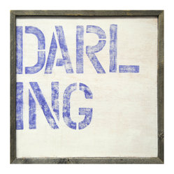 "Kathy Kuo Home - Large Block 'Darling' Reclaimed Wood Wall Art - Add some color and sweet sentiment to your walls. ""Darling"" is block printed in large letters on a washed background in this print that's hand-framed with reclaimed wood. It comes ready to hang so you can quickly admire this darling and your own."