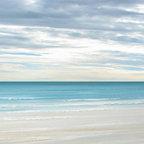 Ocean Beach Tropical Decor Art - Caribbean Shoreline - Blue Ocean wave seascape painting print by Francine Bradette