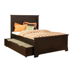 Standard Furniture - Standard Furniture Hideout Panel Bed w/ Trundle in Warm Dark Twin - Hideout combines handsome transitional styling with well planned function, great storage options, and the flexibility to create customized room arrangements - - all wishes of youth and parents today. - 66353-TW-TR.  Product features: Smart design features include bluff cuts for a map drawer look, smooth line base rails and desirable extras like dry erase board surfaces and oversized storage ottomans for lounging. ; Hideout's mid height Loft Bed allows a twin size sleeping area above with a Single Dresser and Bookcase fitting beneath. ; For safety there's a sturdy built-in side rail and attached stair unit with nonslip steps, allowing for three drawers within the stair end panel. ; Twin and Full Size Panel Beds are available, with flat crowns that coordinate with the Vertical Mirror. ; There is also Twin and Full Storage Bookcase Headboards, plus a trundle unit that works with a Storage Dresser as its footboard. ; For clothing storage there is a Double Dresser with Vertical Mirror, 4-Drawer Chest and 2-Drawer Nightstand, plus a Table Desk for studying. ; Hideout has sturdy folded case construction using durable engineered wood products with warm dark pecan grained laminate veneers and smoked chrome bar pull hardware.; Surfaces clean easily with a soft cloth.. Product includes: Headboard (1); Footboard (1); Rails & Slats (1); Trundle (1). Panel Bed w/ Trundle in Warm Dark  belongs to Hideout Collection by Standard Furniture.
