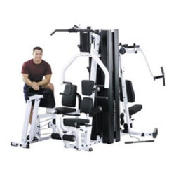 Body-Solid EXM3000LPS Light Commercial Gym - Versatile workhorse offers health club-quality strength training for up to 3 simultaneous usersDurable steel construction in black and whiteMulti-press station is 3-in-1 with fully adjustable pads to accommodate different users and full range-of-motion exerciseThe leg and calf press station features unique 2-bar linkage for self-alignment ensuring proper biomechanics for all usersPillow block and sealed ball bearings provide precision alignment and friction-free motionAdjustable back pad with a 2-position press plate for complete leg developmentLeg and calf press station operates on a 2:1 ratio for an incredible resistance capacity of 420 poundsPerfect pec station boasts dual overhead cams with 6 different increment settings per arm2-function pec station allows for maximum development of pectoral and rear deltoid musclesHigh pulley station for lat pulldowns features easy-access hold-down rollers to fit different usersLat pulldown station is ideal for improving size strength and endurance in your back shoulder and tricep musclesMid pulley station for ab crunches allows the highest degree of comfort while working your abdominal and oblique muscles and while doing triceps extension movementsCam-driven leg extension and curl station helps you work your quads and hamstrings with precisionSeated rowing station with low pulley swivels smoothly providing effective resistance for cable curls upright rows shrugs leg abduction/adduction and moreFeatures dual 210-pound alloy steel weight stacks with state-of-the-art nylon bushings for smooth quiet operation and full-length solid steel shrouds for improved safetyHigh-density top-grade DuraFirm pads are double-stitched sewn and tear-resistantComes complete with lat bar low row bar utility strap workout poster and workout DVDWeighs 940 poundsPlease note that some assembly is requiredManufacturer's warranty included: see complete details in the Product Guarantee areaAbout Body-SolidBody-Solid has been making high quality strength training and exercise equipment for over 20 years. Designed for today's workouts Body-Solid machines feature innovative technology and distinctive styling that suits your home. Body-Solid equipment meets the challenges of today's busy lifestyle while providing you with the utmost in advanced home exercise. From space-saving designs that suit any room to full-sized gym systems with every available station Body-Solid gives you the features you want at a price you can afford. All components of all machines are covered by a lifetime manufacturer's warranty; something you won't find from any other manufacturer in the industry.