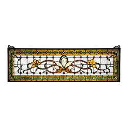 "Meyda - 33""W X 10""H Fairytale Transom Stained Glass Window - Herald in a touch of class to your home with thisstylized floral stained glass window that featuresbeautiful vivid colors in a simplistic design. At thefocal point of this window is a bone beige flowerflanked by saffron flowers on each side. Mahogany stemsand green leaves wed the floral design on a clear background accented with red jewels. A green chain linkdesign accented with beige diamonds and red jewels issurrounded by saffron to complete the design. Thisstunning window is created using meyda tiffany s famouscopper foil construction process and attached to ablack frame. This transom window can be used above adoor or placed as a pair on both sides of a door,especially in entryways. Brackets and hanging chainsare included."