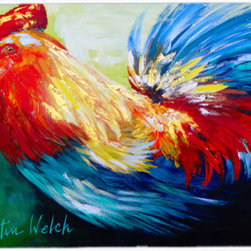 Caroline's Treasures - Bird - Rooster Chief Big Feathers Kitchen or Bath Mat 20 x 30 - Kitchen or Bath Comfort Floor Mat This mat is 20 inch by 30 inch. Comfort Mat / Carpet / Rug that is Made and Printed in the USA. A foam cushion is attached to the bottom of the mat for comfort when standing. The mat has been permanently dyed for moderate traffic. Durable and fade resistant. The back of the mat is rubber backed to keep the mat from slipping on a smooth floor. Use pressure and water from garden hose or power washer to clean the mat. Vacuuming only with the hard wood floor setting, as to not pull up the knap of the felt. Avoid soap or cleaner that produces suds when cleaning. It will be difficult to get the suds out of the mat