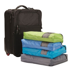 Great Useful Stuff - Packing Cube Set - Well suited for casual travelers and jet setters alike, this packing cube set is the perfect trip companion. These practical pouches keep your clothing neatly separated in labeled zip-up bags, which then easily attach to hangers at your destination, creating a handy hanging dresser. Packing has never been so easy.