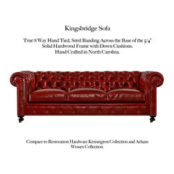 Kingsbridge Sofa - Choose from a selection of CLASSIC Tufted Back Chesterfield Styles. Each is Superbly constructed in North Carolina with 5/4 kiln-dried hardwood maple frames and true eight way hand-tied spring construction in a variety of sizes.