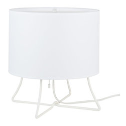Lights Up! - Virgil Low Lamp, White Linen - This versatile table lamp, designed by Rachel Simon, has the kind of easy-going style you love. A simple drum shade — prettily patterned or simply solid — atop a legged base makes a cool, casual statement in your favorite setting.