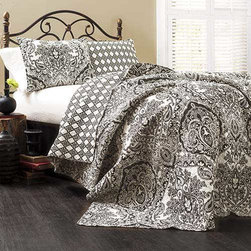 Lush Decor - Aubree Charcoal Three-Piece Queen Quilt Set - - We took a very traditional damask and paisley pattern and turned it into a thoroughly modern looking 100% cotton quilt in black and white. The reverse side utilizes a geometric technique so if you are looking for your room to have more of a contemporary feel this is the side to use. Either way it?s oh so soft and feels great around you  - Set Includes: 1 Quilt and 2 shams  - Sham: 20-Inch H x 26-Inch W  - Care Instructions: Machine wash cold Lush Decor - C16879P13-000