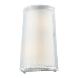 """Elk Lighting - Crystals 2-Light Wall Sconce in Polished Chrome - This series showcases an organza outer shade with a �floating"""" white fabric inner shade, providing a sleek three-dimensional effect.�A clear glass diffuser holding hundreds of clear crystals provides contrast to the smooth drum shades and transforms down light into a shimmering work of art.�Choose from a polished chrome finish with silver organza shade or black chrome with a black organza shade."""