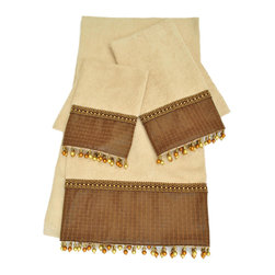 Sherry Kline - Sherry Kline Basket Leather Wheat Embellished 3-piece Towel Set - The Sherry Kline Basket Leather Wheat three-piece Embellished Towel Set features cotton bath, hand and fingertip towels colored in wheat. The embellishments add to bathroom decor in brown leather with shiny beads.