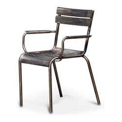 Kathy Kuo Home - Sheffield Industrial Loft Gunmetal Outdoor Safe Dining Arm Chair - Pair - The rustic charm of slatted wood gets an upgrade to indoor/outdoor brushed gunmetal aluminum in this pair of Industrial arm chairs. Combining comfort and style, these chairs add a glistening grey touch to an outdoor or indoor table. They are also the perfect pair for a bistro table or breakfast nook.