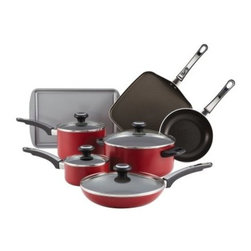 "Farberware High Performance Aluminum Nonstick 12 pc. Cookware Set - Red - The Farberware High Performance Aluminum Nonstick 12 pc. Cookware Set - Red has a sizzling red exterior and works like a sous chef in the kitchen. This complete 12-piece cookware set features a heavy-duty nonstick coating and includes pots and pans with tight-fitting see-through as well as skillets and a grill pan. About FarberwareIn 1900 a tinsmith named S.W. Farber set up a shop in Manhattan where he started a small business making bowls and vases out of hand-pounded sheets of copper and brass. Since that time the Farberware company has grown exponentially; in 1930 they introduced their first line of percolators adding small appliances to the list of items for which they were already known. In today's market Farberware is valued for its product innovation. Over the years they have been responsible for such designs as the electric fry pan with removable probe for easy cleaning and the """"Open Hearth"""" smokeless broiler. Quality classic styling and years of tradition go into each Farberware product. With Farberware you know you're not just buying a piece of cookware; you're buying a legacy of great value."