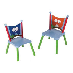 """Levels of Discovery - Owls Set of 2 Chairs  (Table not included) - Extra chairs set of 2 chairs for the Owl furniture series featuring wise owl seat backsWise owl seat backs. Set of 2 chairs. Made of MDF (particle board) for flat surfaces and Hard Woods for """"turned"""" areas. ."""