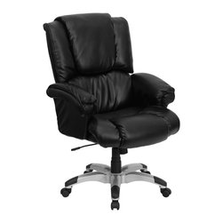 Flash Furniture - Flash Furniture Office Chairs Leather Executive Swivels X-GG-KB-859-OG - Have you ever wondered what it would be like to work from home? To be able to sit in the comfort of your own living room recliner, kicked back in a plush comfortable setting, relaxed and ready to work? Can you picture it? This overstuffed executive office chair from Flash Furniture helps to provide that very experience in the office. Providing the pillow-top comfort of a home recliner with the look and functionality of a great office chair, you can easily achieve a perfect combination of comfort and productivity. Featuring black leather upholstery, loads of soft padding, underlying foam support, a silver nylon base with black caps that prevent your feet from slipping and an ergonomic design, this executive office chair enables one of the most comfortable sitting experiences you will ever have. [GO-958-BK-GG]