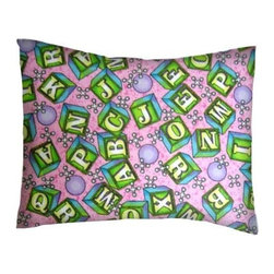 SheetWorld - SheetWorld Twin Pillow Case - Flannel Pillow Case - ABC Blocks Pink-Made in USA - Twin pillow shams. Made of an all cotton flannel fabric. Side opening. Features the cutest ABC blocks pink.