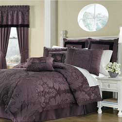 None - Lorenzo Purple 8-piece Queen-size Comforter Set - Outfit your bed with this luxurious purple queen comforter set by Lorenzo. With its damask pattern and velvet accents, the comforter set adds elegance to your bedroom. The eight-piece set comes with a comforter, bedskirt, shams, and pillows.