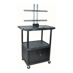 Luxor Furniture - Mobile Flat Panel Display Cart w Cabinet - Includes 3-outlets 15 ft. surge suppressing electric assembly. Locking cabinet with full piano door hinge for maximum strength. Three shelves with wide top shelf with universal plasma LCD mount. Holds upto 50 in. screen. Integral safety push handle molded into top shelf for sturdy grip. Shelves and legs won't stain, scratch, dent or rust. Top shelf reinforced with one metal bar. 0.25 in. retaining lip and sure grip safety pads. Cable track cord management system keeps cords neatly secured. Cabling hold in top shelf with cord guide cover. 4 in. ball bearing casters. Two casters with locking brake. 17.75 in. lower and 19 in. upper shelf clearance. Powder coat paint finish. 20 gauge steel cabinet. Made from high density polyethylene structural foam molded plastic. Black color. Made in USA. 32 in. L x 24 in. W x 48.5 in. H. Warranty. Installation Manual