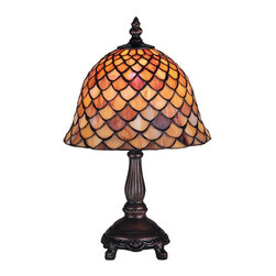 Meyda Tiffany - Meyda Tiffany Lamps Table Lamp in Mahogany Bronze - Shown in picture: Tiffany Fishscale Mini Lamp; A Louis Comfort Tiffany Studio Classic Fishscale Pattern Reproduced In Variegated Tortoiseshell Of Ambers And Burgundy. This Handsome Stained Glass Shade Is Used With A Mahogany Bronze Hand Finished Lamp Base. A Versatile Mini Lamp To Complement Any Color Or Style.