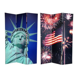 Oriental Unlimted - Reversible 6 ft. Tall Liberty Theme Canvas Pr - One double-sided divider, both sides shown in image. Celebrate American patriotism with two powerful images, profoundly meaningful to any United States citizen. The front features a close-cropped shot of the Statue of Liberty, our famous gift from France. Her determined face encircled by an unmistakable stellar crown. On the other side, fireworks explode around the Stars and Stripes, as the red, white and blue of Old Glory is hoisted high on a brass flagpole. Interesting shapes and scintillating highlights will bring a beautiful decorative accent into your clubhouse, family entertainment room, living room or bedroom. This 3 panel screen has different images on each side. High quality wood and fabric covered room divider. Well constructed, extra durable, kiln dried Spruce wood frame panels, covered top to bottom, front, back and edges. With tough stretched poly-cotton blend canvas. 2 Extra large, beautiful art prints - printed with fade resistant, high color saturation ink, creating 2 stunning, long lasting, vivid images, powerful visual focal points for any room. Amazingly inexpensive, practical, portable, decorative accessory. Almost entirely opaque, double layer of canvas, providing complete privacy. Easily block light from a bedroom window or doorway. Great home decor accent - for dividing a space, redirecting foot traffic, hiding unsightly areas or equipment, or for providing a background for plants or sculptures, or use to define a cozy, attractive spot for table and chairs in a larger room. Assembly required. 15.75 in. W x 70.88 in. H (each panel)