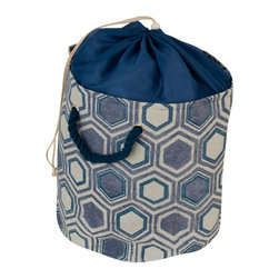 Enchante Accessories Inc - Raymond Waites Drawstring Sealable Laundry Tote with Rope Handle, Blue, Small - Printed cotton laundry toteSturdy rope handles for easy lifting and carrying Contrast drawstring liner with a cinch top closureLarge measures 20ヤ x 18ヤSmall measures 16 in. x 13.50 in. While doing laundry may never become your favorite household chore, the Printed Laundry Tote by Raymond Waites can make that never-ending task a bit more stylish.  Doing double duty as a catchall to hold dirty clothing and a portable tote that makes it easy to carry dirty gear to the laundry room, this printed tote has a casual look and a stylish design that makes laundry day a little more enjoyable.  Made from durable, textured cotton fabric and detailed with on trend prints, this laundry tote features sturdy rope handles for easy carrying and a solid contrast lining that closes with a drawstring at the top to conceal and contain the items inside.  The cinch top closure lets you overstuff the bag and travel to your laundry room without having to worry about your clothing spilling out.   Available in small and large sizes, this laundry tote is perfect for use in any bedroom, dorm room, or childメs nursery where you donメt have the space for an oversized laundry basket.  Cute enough that you wonメt even mind carrying it out of the house, this laundry tote is perfect for the woman who demands modern style in all aspects of life.   Choose from a variety of pastel and muted Ikat prints, multicolored stripes, and geometric patterns to suit your personal style or coordinate with other patterns and prints around the house.  With durable rope handles that are dyed to match the print, this bag can be toted by hand, carried in the crook of your arm, or used as a stylish storage bin.  For use as bedroom or office storage, combine the small and large totes to create a matching set or mix and match different patterns in different sizes to create a unique look.  Perfect for holding folded sheets 