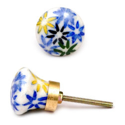 "Knobco - Field Of Flowers Knob, Yellow, Green And Blue Flowers - Yellow, Green and Blue flowers from Jaipur, India.  Decorative   ceramic knobs for you kitchen cabinets. 1.5"" in diameter.  Includes   screws for installation."