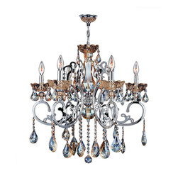 "Worldwide Lighting - Kronos 6 Light Chrome Finish and Golden Teak Crystal Chandelier 26"" D x 24"" H - This stunning 6-light Crystal Chandelier only uses the best quality material and workmanship ensuring a beautiful heirloom quality piece. Featuring a radiant Chrome Finish and finely cut premium grade Golden Teak colored crystals with a lead content of 30%, this elegant chandelier will give any room sparkle and glamour. Worldwide Lighting Corporation is a privately owned manufacturer of high quality crystal chandeliers, pendants, surface mounts, sconces and custom decorative lighting products for the residential, hospitality and commercial building markets. Our high quality crystals meet all standards of perfection, possessing lead oxide of 30% that is above industry standards and can be seen in prestigious homes, hotels, restaurants, casinos, and churches across the country. Our mission is to enhance your lighting needs with exceptional quality fixtures at a reasonable price."